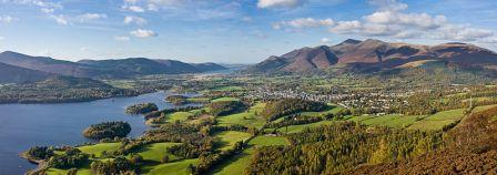 6 nights Biking in the Lake District in England. Veiw of Keswick & Derwent Water