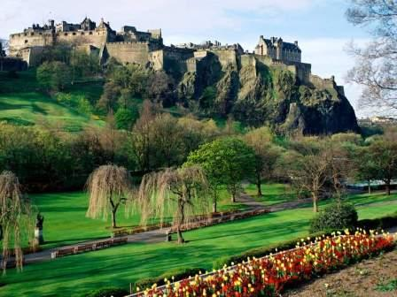 5 nights Cycling Historical Scotland Edinburgh & Fife. Edinburgh Castle with gardens in full bloom