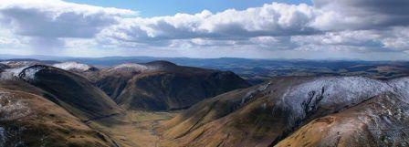 7 nights cycling Lochs and Glens Glasgow to Carlisle. The Galloway Hills in winter