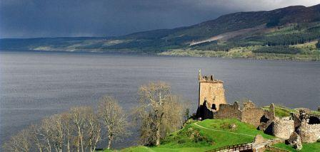 6 night circular cycling Scotland's Great Glen. the view over Urquhart Castle and Loch Ness
